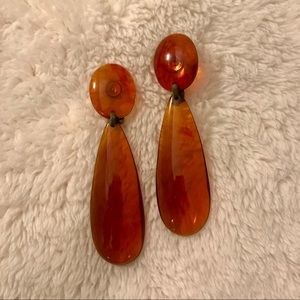 Jewelry - Vintage 70s clear/amber plastic statement earrings